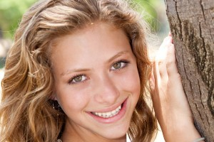 Image of Closeup portrait of a happy young beautiful woman